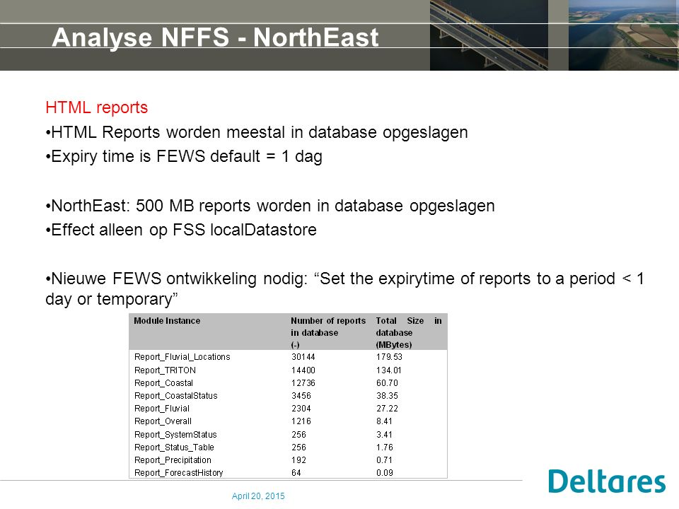 Analyse NFFS - NorthEast HTML reports HTML Reports worden meestal in database opgeslagen Expiry time is FEWS default = 1 dag NorthEast: 500 MB reports worden in database opgeslagen Effect alleen op FSS localDatastore Nieuwe FEWS ontwikkeling nodig: Set the expirytime of reports to a period < 1 day or temporary April 20, 2015