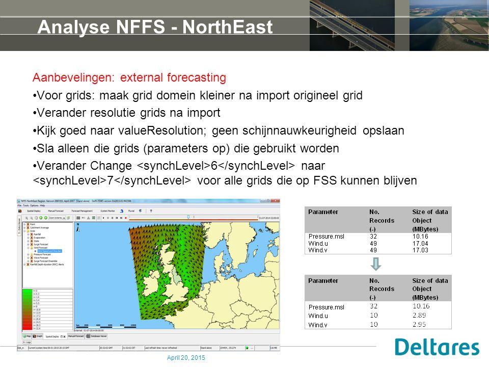 Analyse NFFS - NorthEast Aanbevelingen: external forecasting Voor grids: maak grid domein kleiner na import origineel grid Verander resolutie grids na import Kijk goed naar valueResolution; geen schijnnauwkeurigheid opslaan Sla alleen die grids (parameters op) die gebruikt worden Verander Change 6 naar 7 voor alle grids die op FSS kunnen blijven April 20, 2015