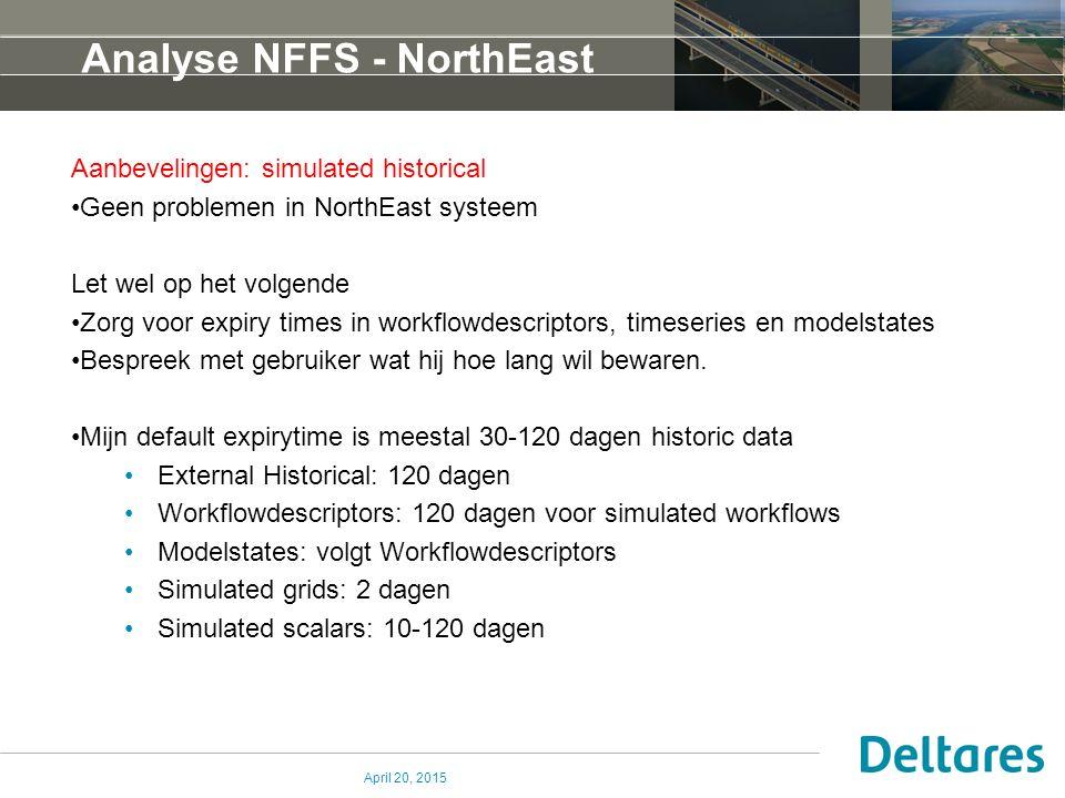 Analyse NFFS - NorthEast Aanbevelingen: simulated historical Geen problemen in NorthEast systeem Let wel op het volgende Zorg voor expiry times in workflowdescriptors, timeseries en modelstates Bespreek met gebruiker wat hij hoe lang wil bewaren.