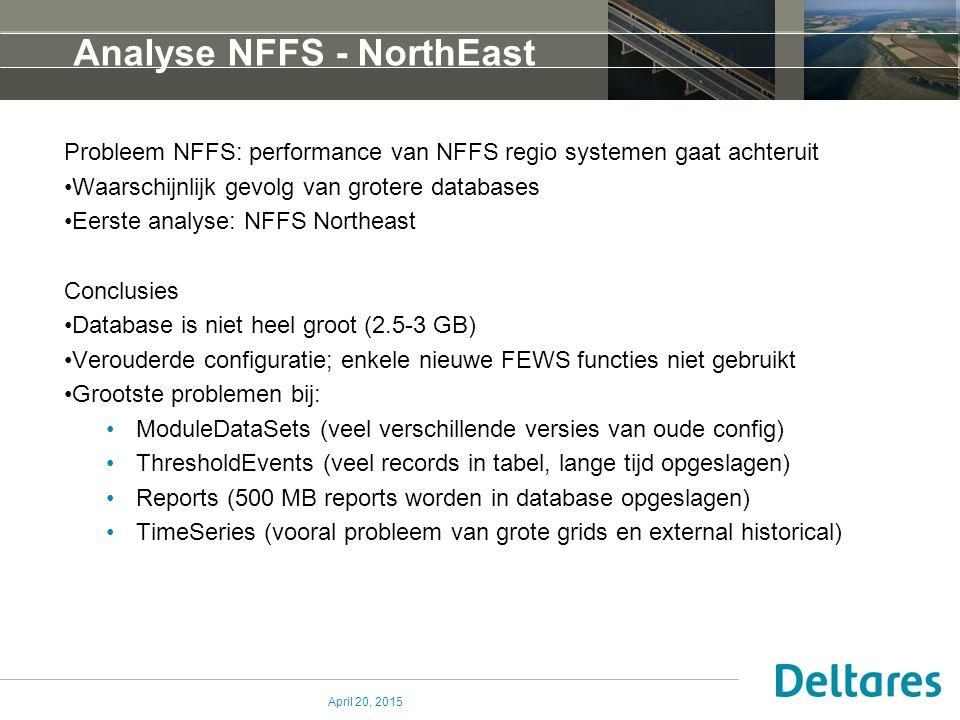 Analyse NFFS - NorthEast Probleem NFFS: performance van NFFS regio systemen gaat achteruit Waarschijnlijk gevolg van grotere databases Eerste analyse: NFFS Northeast Conclusies Database is niet heel groot (2.5-3 GB) Verouderde configuratie; enkele nieuwe FEWS functies niet gebruikt Grootste problemen bij: ModuleDataSets (veel verschillende versies van oude config) ThresholdEvents (veel records in tabel, lange tijd opgeslagen) Reports (500 MB reports worden in database opgeslagen) TimeSeries (vooral probleem van grote grids en external historical) April 20, 2015