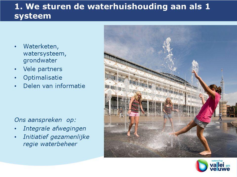1. We sturen de waterhuishouding aan als 1 systeem Waterketen, watersysteem, grondwater Vele partners Optimalisatie Delen van informatie Ons aanspreke