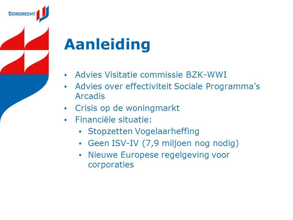 Aanleiding Advies Visitatie commissie BZK-WWI Advies over effectiviteit Sociale Programma's Arcadis Crisis op de woningmarkt Financiële situatie: Stop