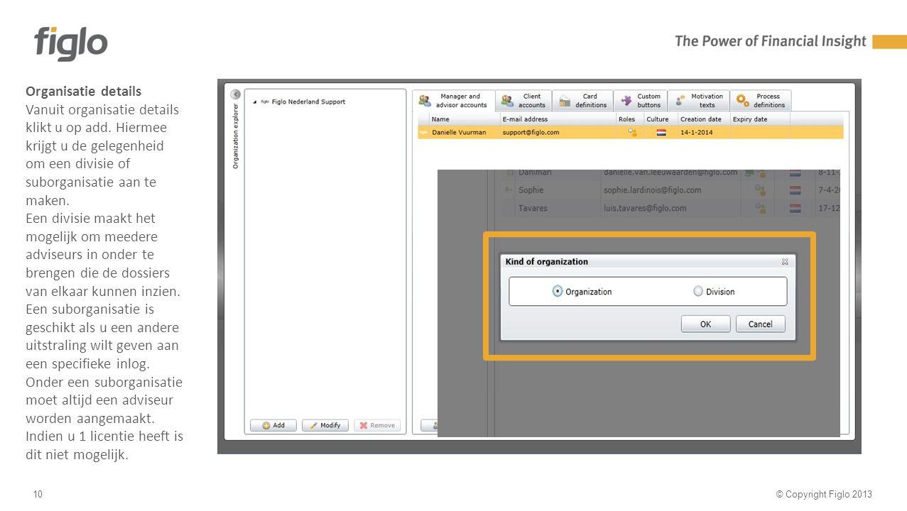 30% text - 70% image © Copyright Figlo 201310 Organisatie details Vanuit organisatie details klikt u op add.