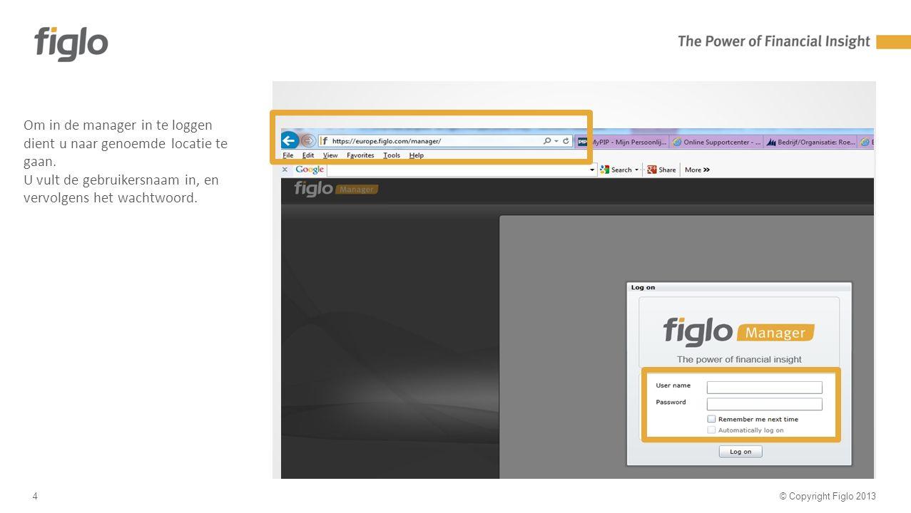 30% text - 70% image © Copyright Figlo 20134 Om in de manager in te loggen dient u naar genoemde locatie te gaan.