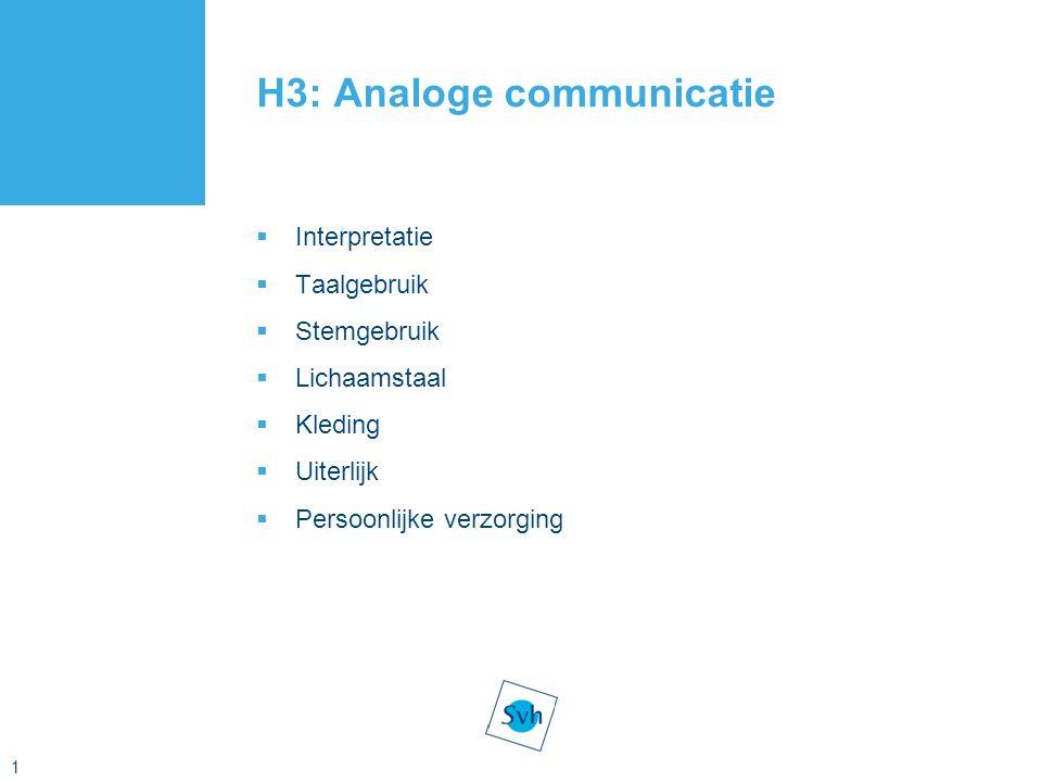 1 H3: Analoge communicatie  Interpretatie  Taalgebruik  Stemgebruik  Lichaamstaal  Kleding  Uiterlijk  Persoonlijke verzorging