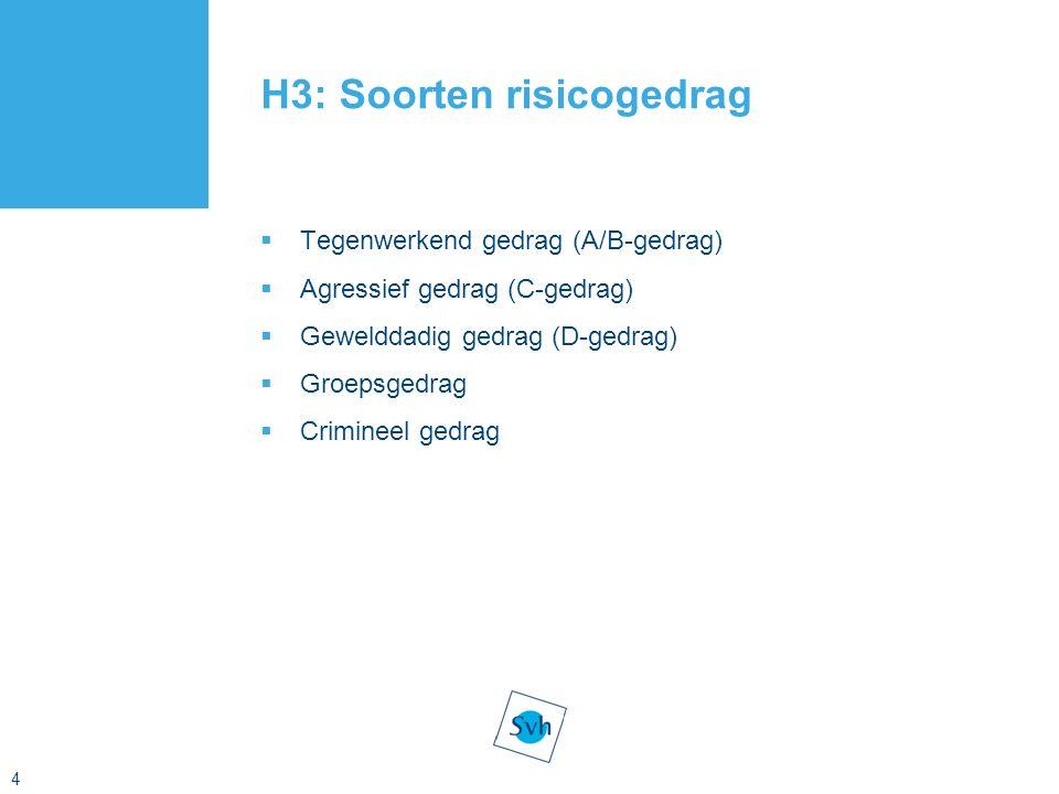 4 H3: Soorten risicogedrag  Tegenwerkend gedrag (A/B-gedrag)  Agressief gedrag (C-gedrag)  Gewelddadig gedrag (D-gedrag)  Groepsgedrag  Crimineel gedrag