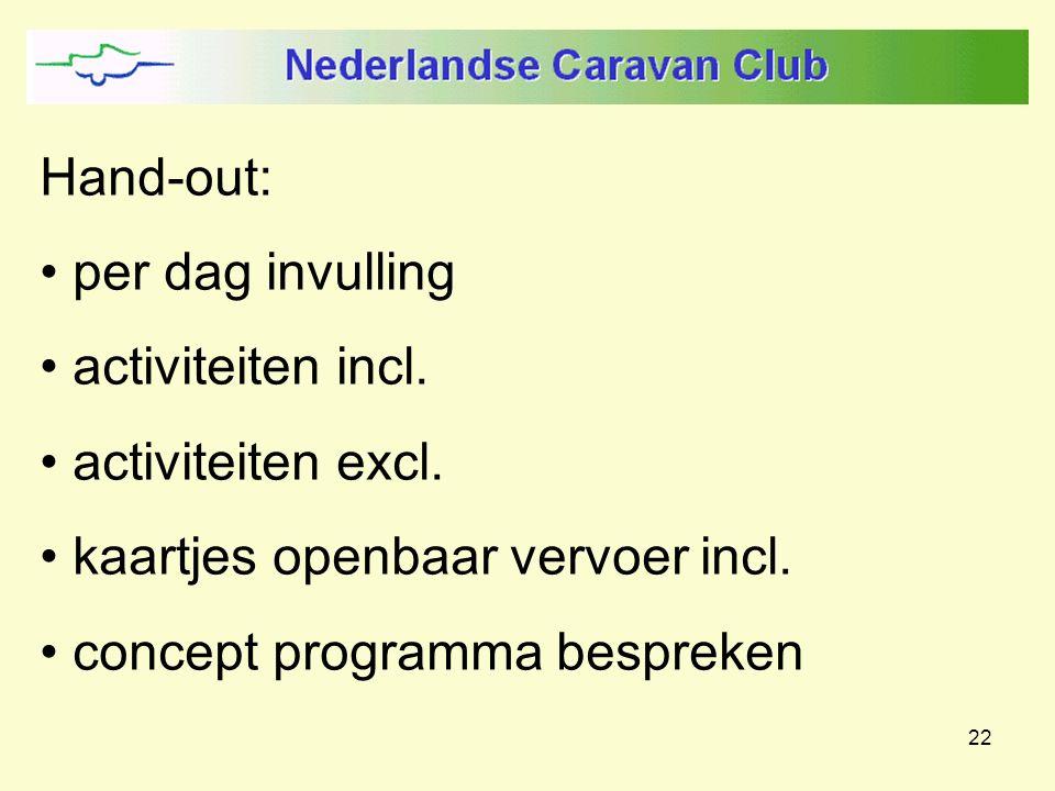 22 Hand-out: per dag invulling activiteiten incl. activiteiten excl. kaartjes openbaar vervoer incl. concept programma bespreken