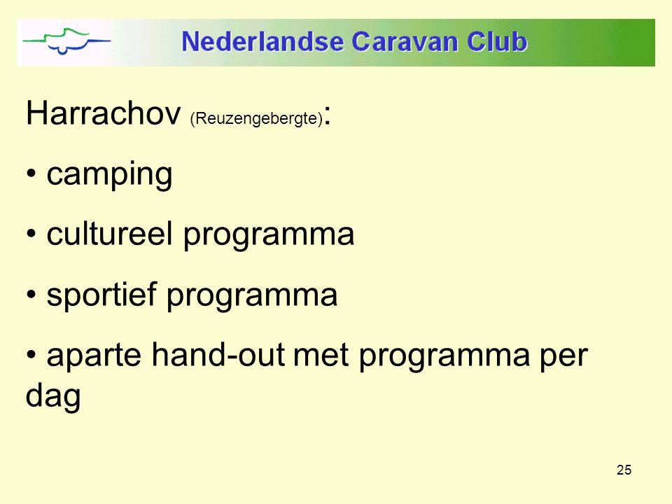 25 Harrachov (Reuzengebergte) : camping cultureel programma sportief programma aparte hand-out met programma per dag