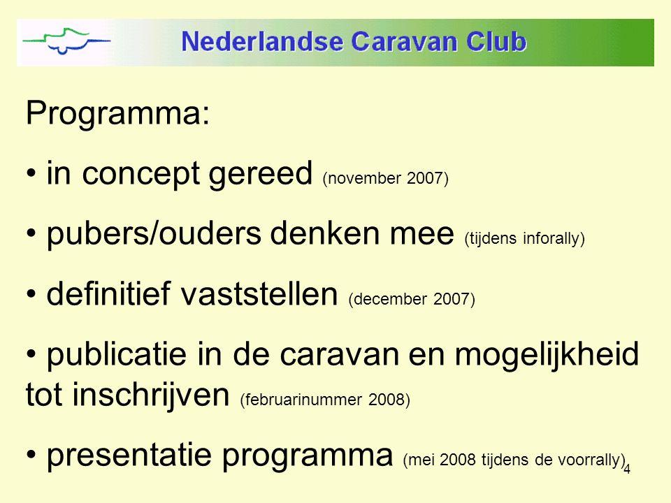 4 Programma: in concept gereed (november 2007) pubers/ouders denken mee (tijdens inforally) definitief vaststellen (december 2007) publicatie in de caravan en mogelijkheid tot inschrijven (februarinummer 2008) presentatie programma (mei 2008 tijdens de voorrally)