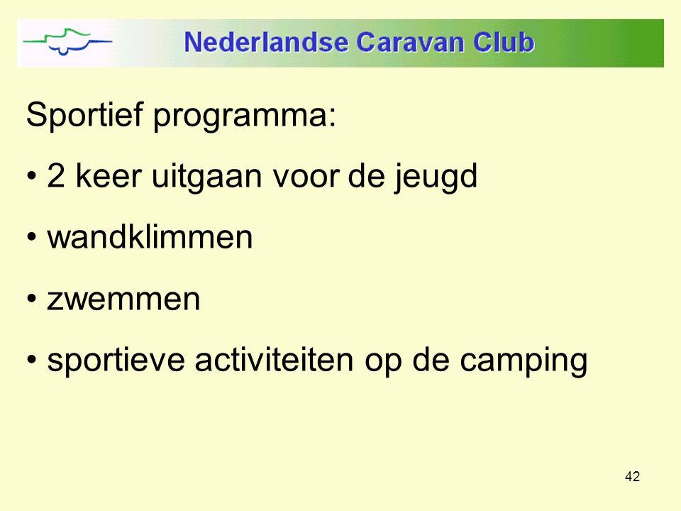 42 Sportief programma: 2 keer uitgaan voor de jeugd wandklimmen zwemmen sportieve activiteiten op de camping