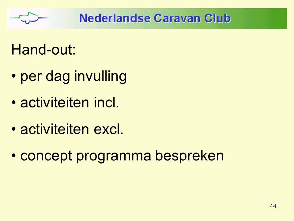 44 Hand-out: per dag invulling activiteiten incl. activiteiten excl. concept programma bespreken