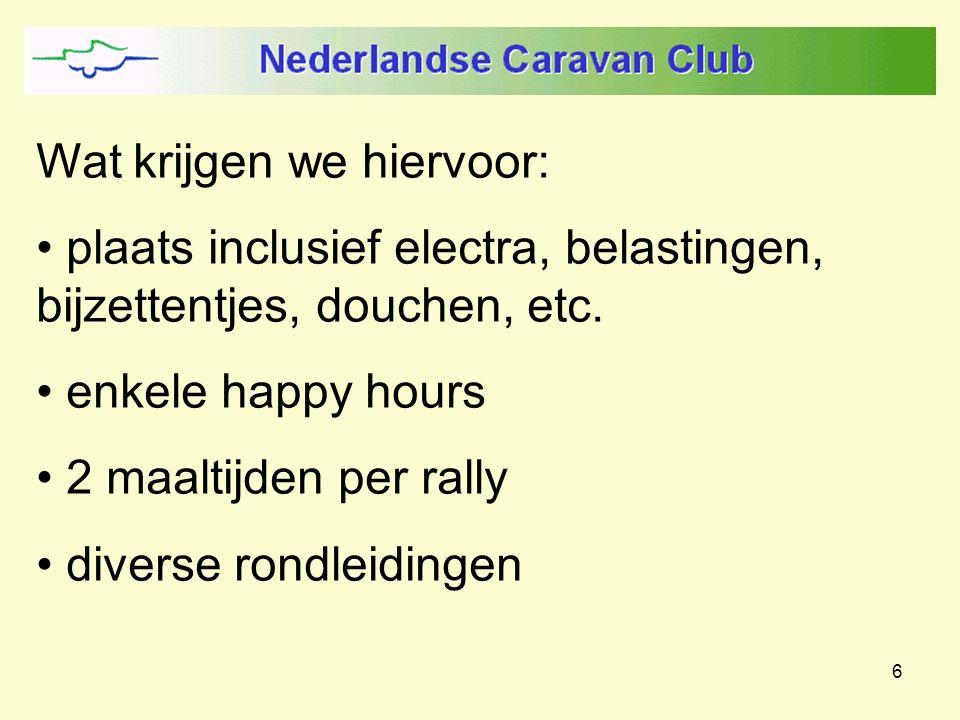 6 Wat krijgen we hiervoor: plaats inclusief electra, belastingen, bijzettentjes, douchen, etc. enkele happy hours 2 maaltijden per rally diverse rondl