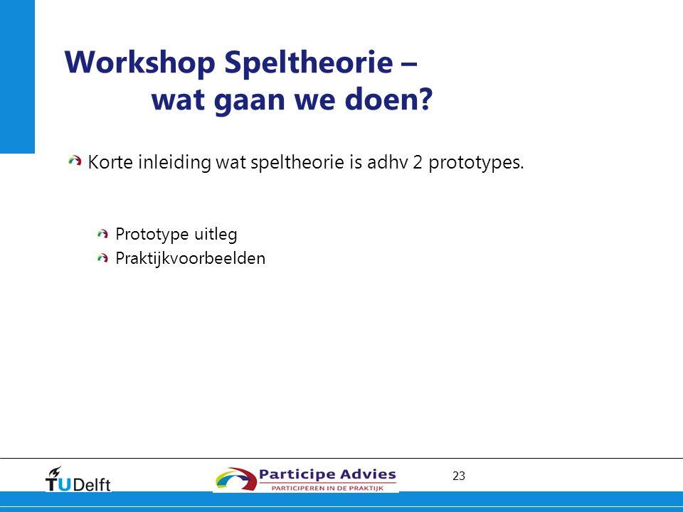 23 Workshop Speltheorie – wat gaan we doen. Korte inleiding wat speltheorie is adhv 2 prototypes.