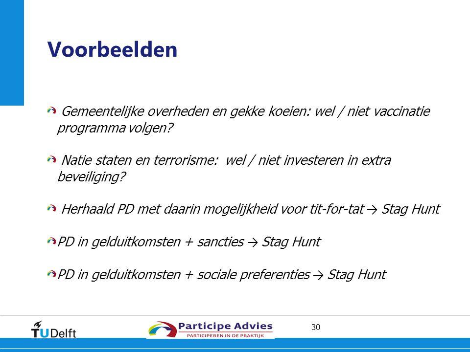 30 Voorbeelden Gemeentelijke overheden en gekke koeien: wel / niet vaccinatie programma volgen.