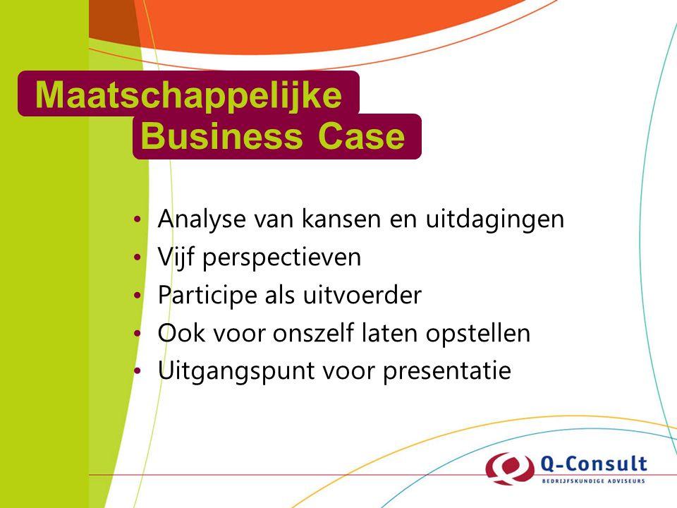 Maatschappelijke Business Case Analyse van kansen en uitdagingen Vijf perspectieven Participe als uitvoerder Ook voor onszelf laten opstellen Uitgangspunt voor presentatie