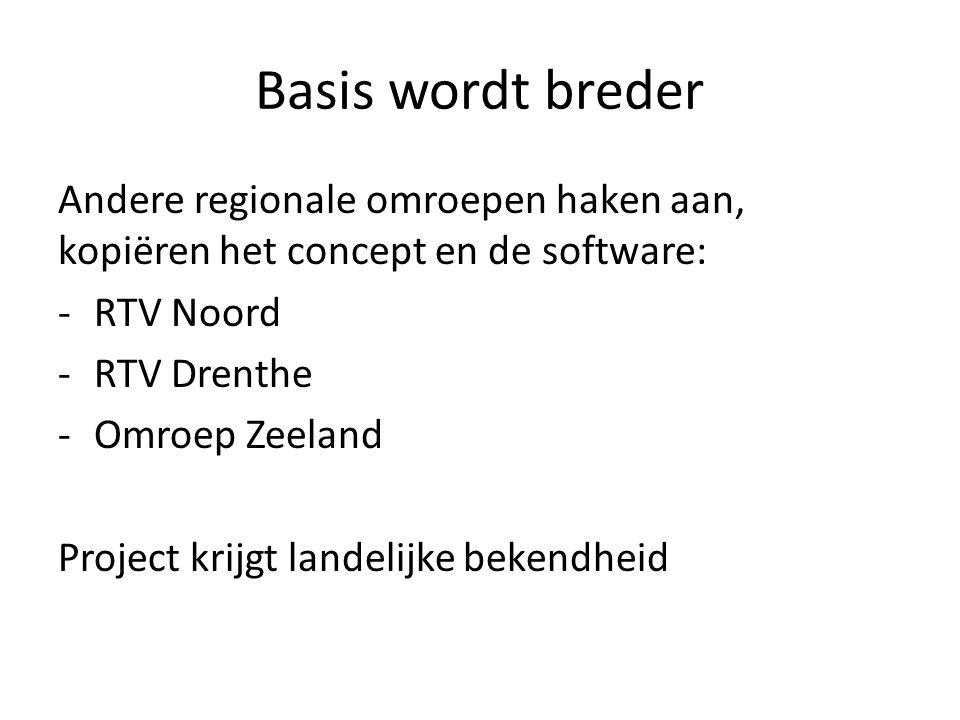 Basis wordt breder Andere regionale omroepen haken aan, kopiëren het concept en de software: -RTV Noord -RTV Drenthe -Omroep Zeeland Project krijgt landelijke bekendheid