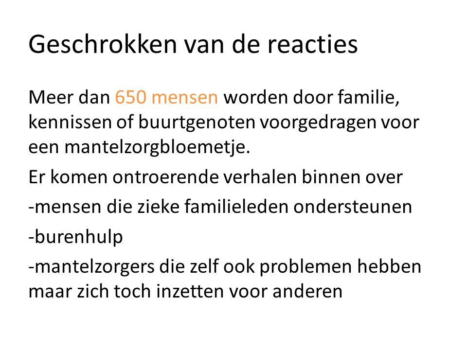 Geschrokken van de reacties Meer dan 650 mensen worden door familie, kennissen of buurtgenoten voorgedragen voor een mantelzorgbloemetje.