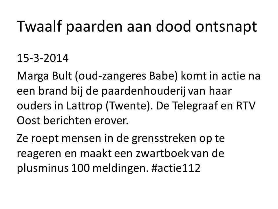 Twaalf paarden aan dood ontsnapt 15-3-2014 Marga Bult (oud-zangeres Babe) komt in actie na een brand bij de paardenhouderij van haar ouders in Lattrop (Twente).