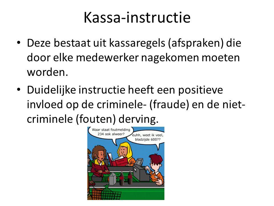 Kassa-instructie Deze bestaat uit kassaregels (afspraken) die door elke medewerker nagekomen moeten worden.