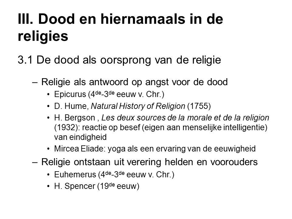 III. Dood en hiernamaals in de religies 3.1 De dood als oorsprong van de religie –Religie als antwoord op angst voor de dood Epicurus (4 de -3 de eeuw