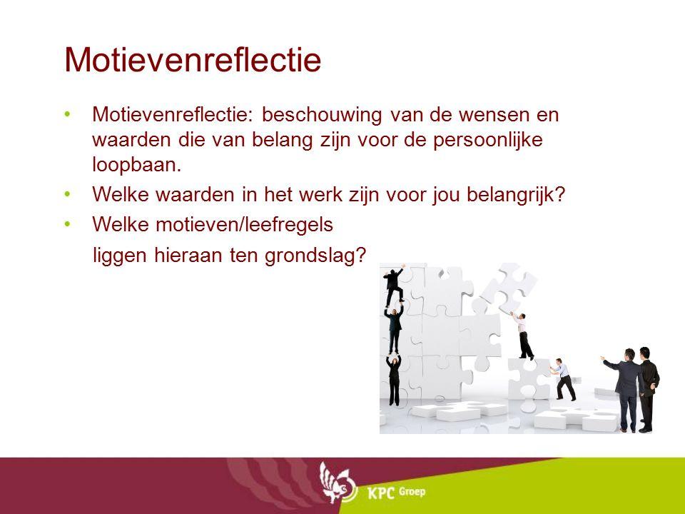 Motievenreflectie Motievenreflectie: beschouwing van de wensen en waarden die van belang zijn voor de persoonlijke loopbaan. Welke waarden in het werk