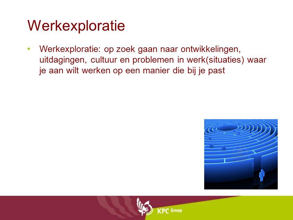 Werkexploratie Werkexploratie: op zoek gaan naar ontwikkelingen, uitdagingen, cultuur en problemen in werk(situaties) waar je aan wilt werken op een m