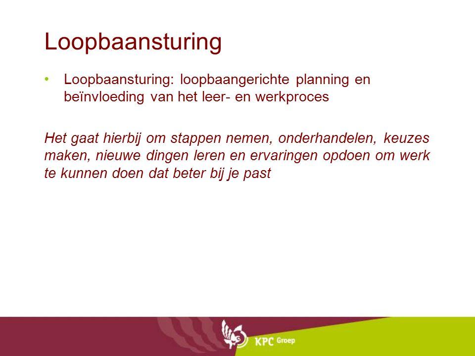 Loopbaansturing Loopbaansturing: loopbaangerichte planning en beïnvloeding van het leer- en werkproces Het gaat hierbij om stappen nemen, onderhandele