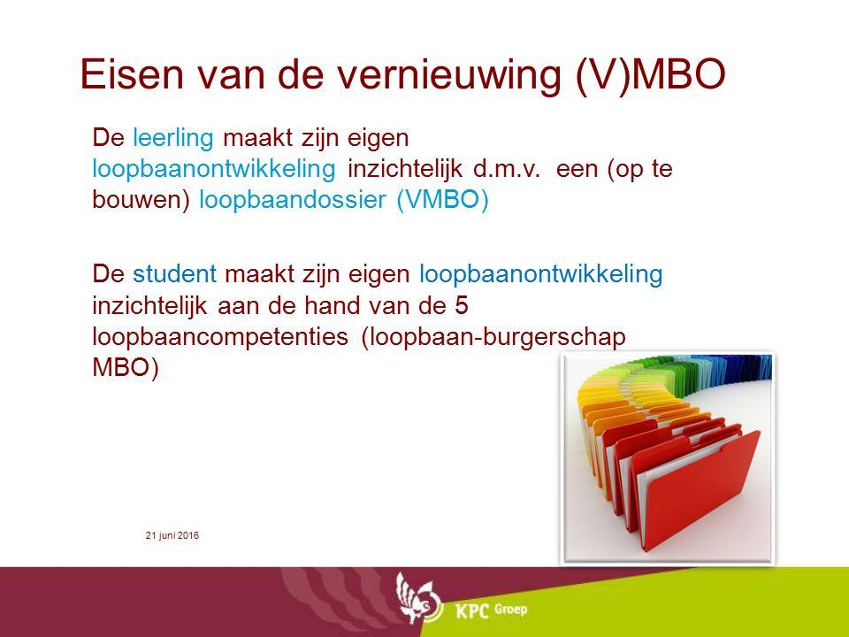 Eisen van de vernieuwing (V)MBO De leerling maakt zijn eigen loopbaanontwikkeling inzichtelijk d.m.v. een (op te bouwen) loopbaandossier (VMBO) De stu