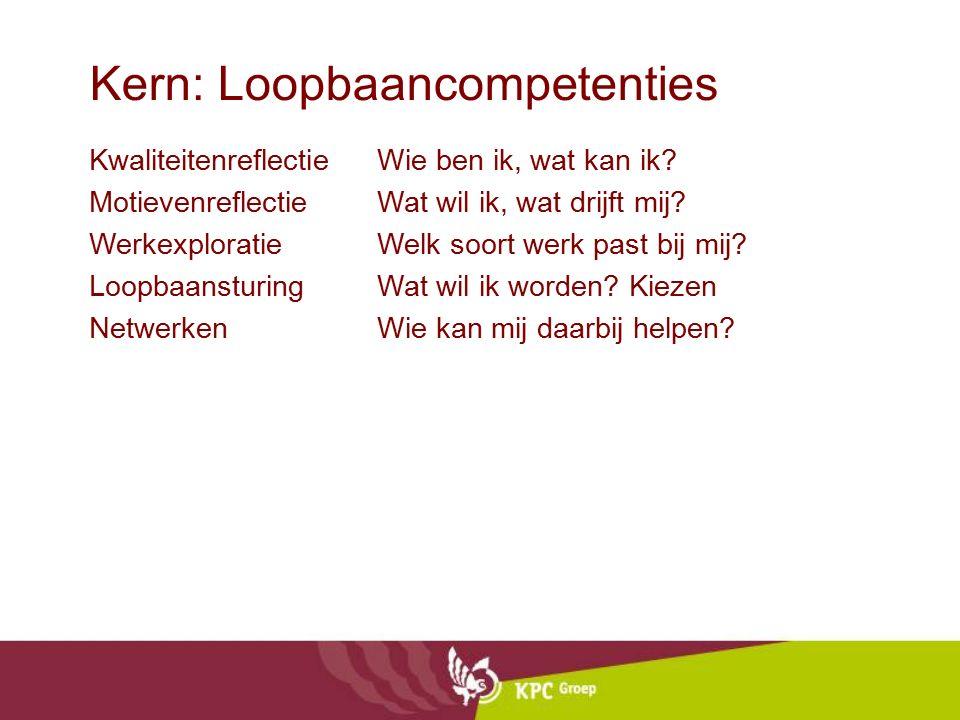 Kern: Loopbaancompetenties Kwaliteitenreflectie Wie ben ik, wat kan ik? Motievenreflectie Wat wil ik, wat drijft mij? Werkexploratie Welk soort werk p