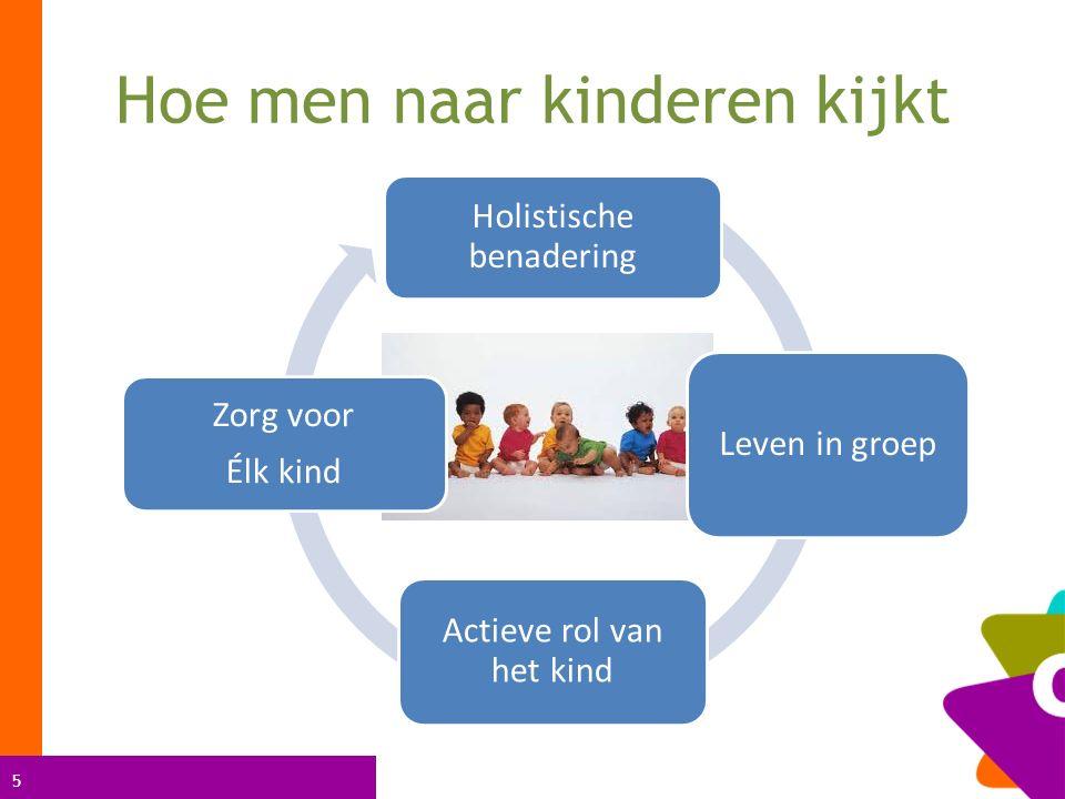 5 Hoe men naar kinderen kijkt Holistische benadering Leven in groep Actieve rol van het kind Zorg voor Élk kind