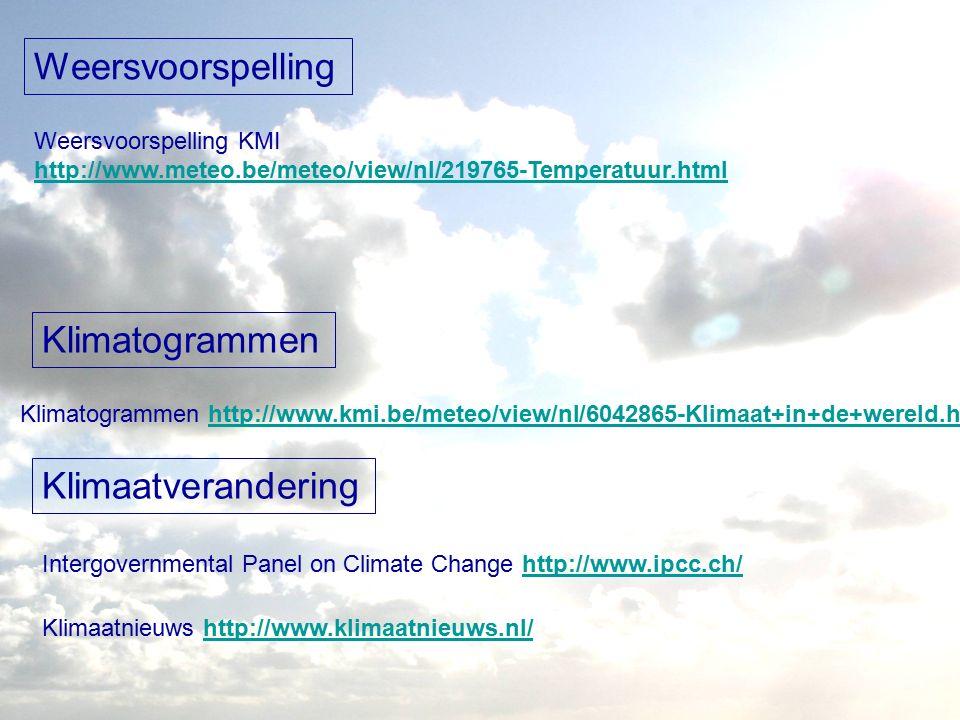 Weersvoorspelling Weersvoorspelling KMI http://www.meteo.be/meteo/view/nl/219765-Temperatuur.html Klimatogrammen Klimatogrammen http://www.kmi.be/meteo/view/nl/6042865-Klimaat+in+de+wereld.htmlhttp://www.kmi.be/meteo/view/nl/6042865-Klimaat+in+de+wereld.html Klimaatverandering Intergovernmental Panel on Climate Change http://www.ipcc.ch/http://www.ipcc.ch/ Klimaatnieuws http://www.klimaatnieuws.nl/