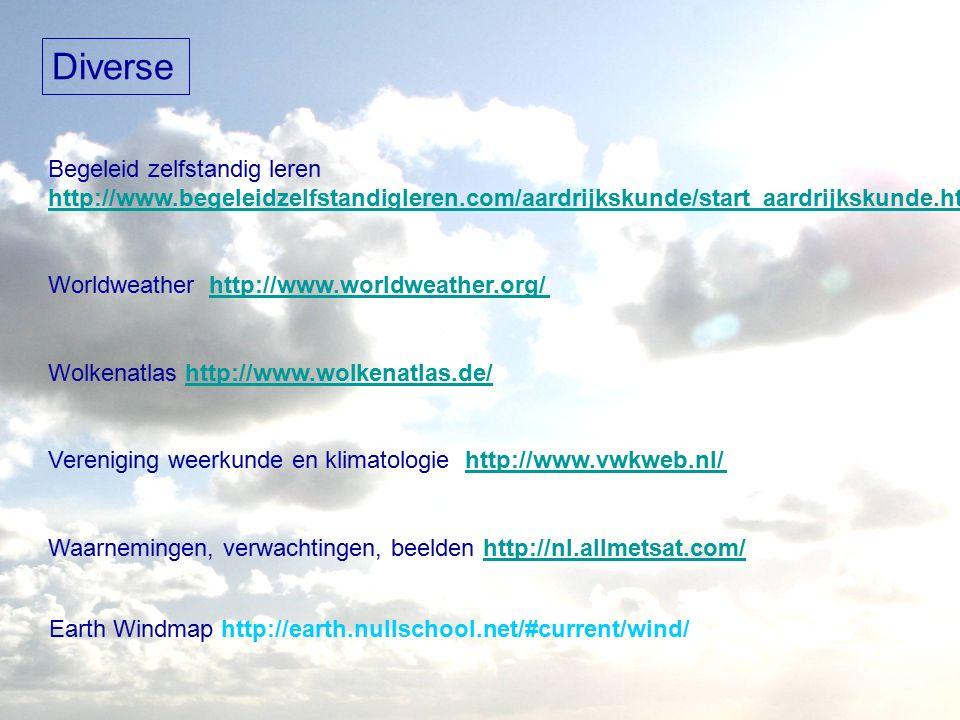 Diverse Begeleid zelfstandig leren http://www.begeleidzelfstandigleren.com/aardrijkskunde/start_aardrijkskunde.html Worldweather http://www.worldweather.org/http://www.worldweather.org/ Wolkenatlas http://www.wolkenatlas.de/http://www.wolkenatlas.de/ Vereniging weerkunde en klimatologie http://www.vwkweb.nl/http://www.vwkweb.nl/ Waarnemingen, verwachtingen, beelden http://nl.allmetsat.com/ Earth Windmap http://earth.nullschool.net/#current/wind/