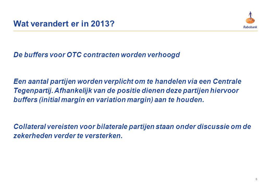 8 De buffers voor OTC contracten worden verhoogd Een aantal partijen worden verplicht om te handelen via een Centrale Tegenpartij. Afhankelijk van de