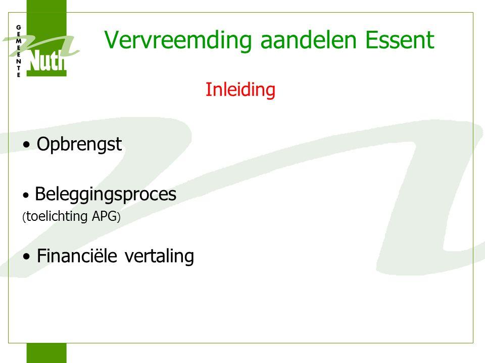 Vervreemding aandelen Essent Inleiding Opbrengst Beleggingsproces ( toelichting APG ) Financiële vertaling