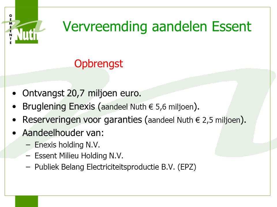 Vervreemding aandelen Essent Opbrengst Ontvangst 20,7 miljoen euro.