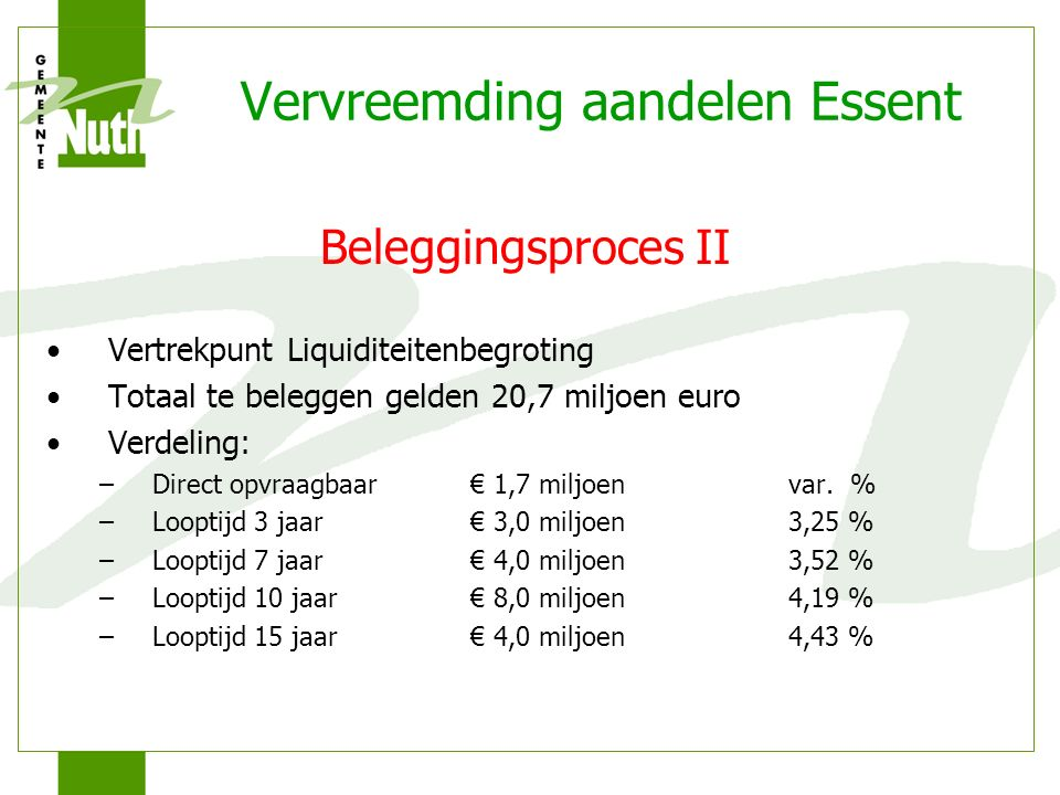 Vervreemding aandelen Essent Beleggingsproces II Vertrekpunt Liquiditeitenbegroting Totaal te beleggen gelden 20,7 miljoen euro Verdeling: –Direct opvraagbaar€ 1,7 miljoenvar.
