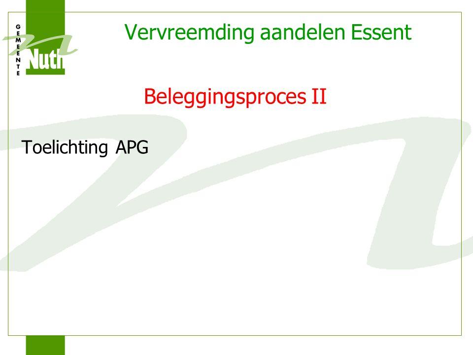 Vervreemding aandelen Essent Beleggingsproces II Toelichting APG