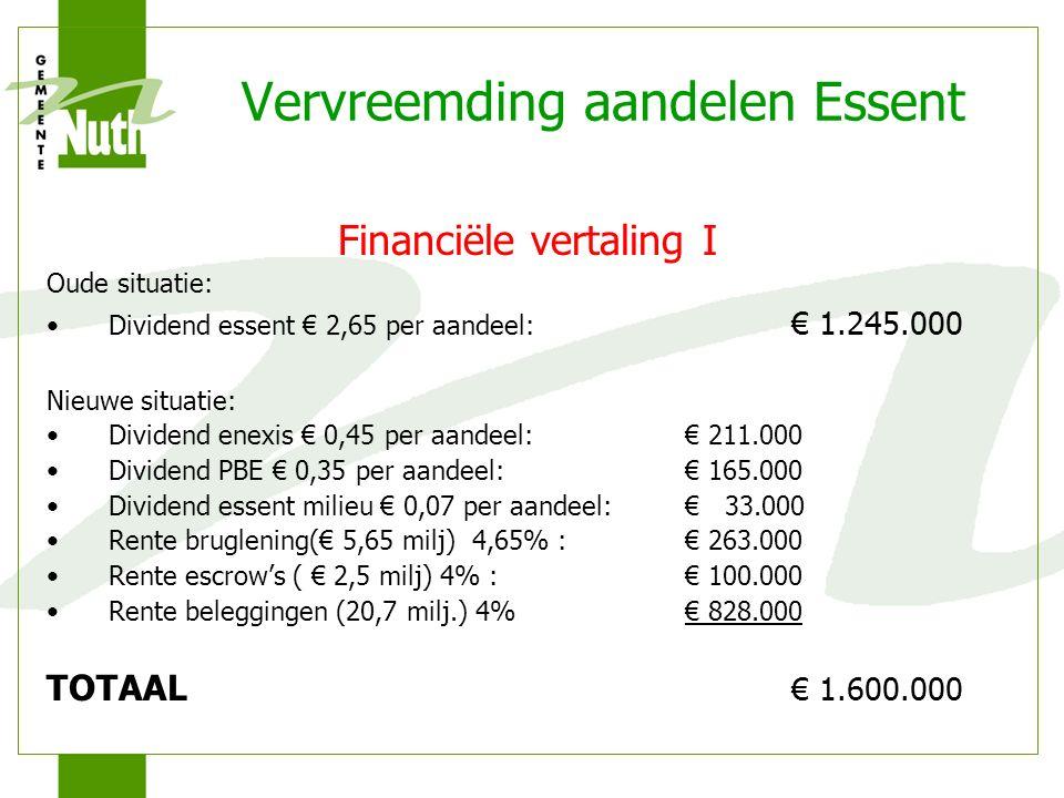 Vervreemding aandelen Essent Financiële vertaling I Oude situatie: Dividend essent € 2,65 per aandeel: € 1.245.000 Nieuwe situatie: Dividend enexis € 0,45 per aandeel:€ 211.000 Dividend PBE € 0,35 per aandeel:€ 165.000 Dividend essent milieu € 0,07 per aandeel:€ 33.000 Rente bruglening(€ 5,65 milj) 4,65% :€ 263.000 Rente escrow's ( € 2,5 milj) 4% :€ 100.000 Rente beleggingen (20,7 milj.) 4%€ 828.000 TOTAAL € 1.600.000