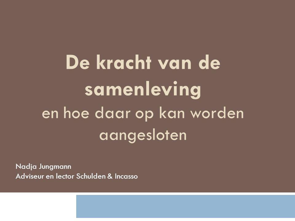 Nadja Jungmann Adviseur en lector Schulden & Incasso De kracht van de samenleving en hoe daar op kan worden aangesloten