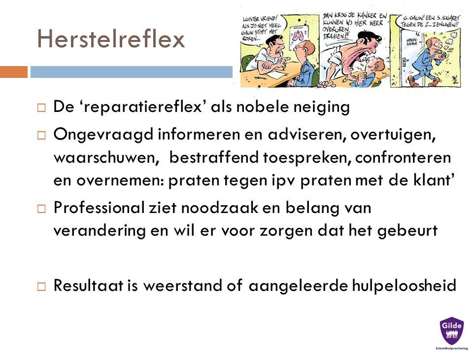 Herstelreflex in dienstverlening  Dreigen met straf  Korte termijn horizon draagt bij aan ander afwegingskader  Verplichte deelname (aan bijv.