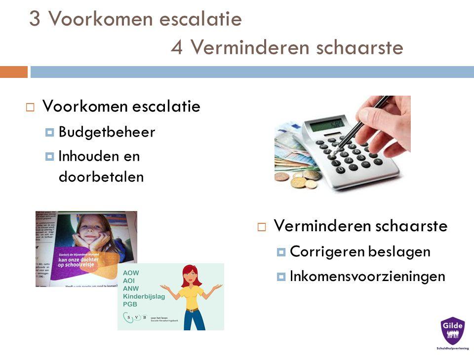 3 Voorkomen escalatie 4 Verminderen schaarste  Verminderen schaarste  Corrigeren beslagen  Inkomensvoorzieningen  Voorkomen escalatie  Budgetbeheer  Inhouden en doorbetalen