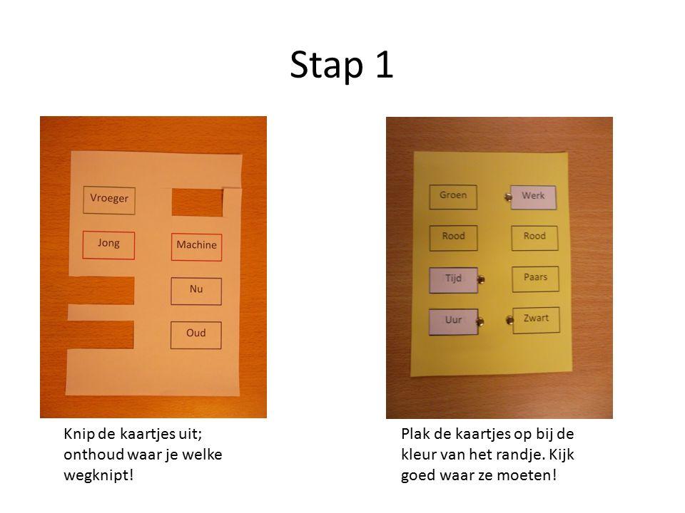 Stap 1 Knip de kaartjes uit; onthoud waar je welke wegknipt.
