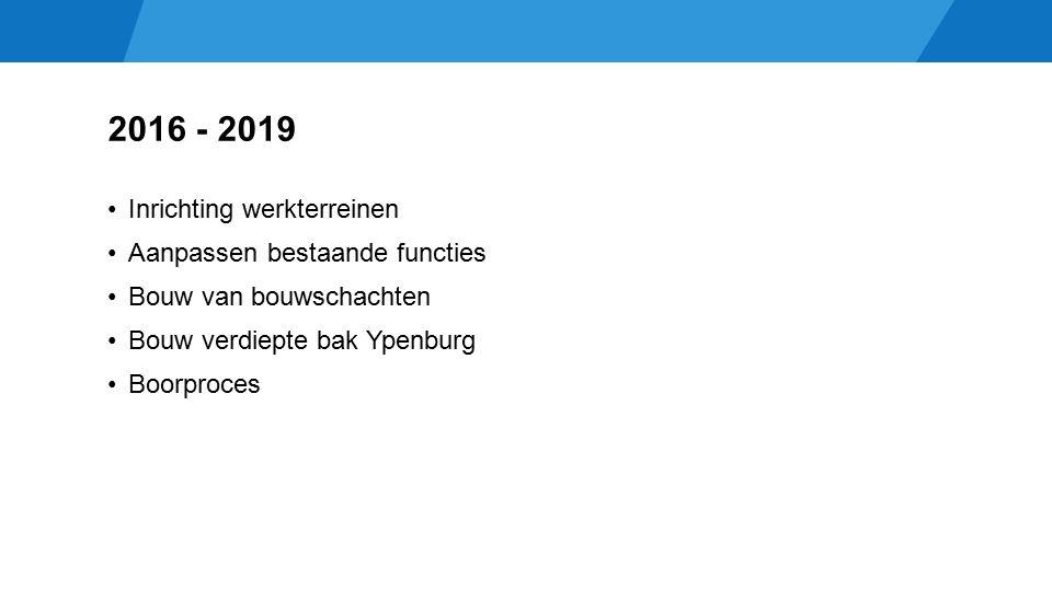 2016 - 2019 Inrichting werkterreinen Aanpassen bestaande functies Bouw van bouwschachten Bouw verdiepte bak Ypenburg Boorproces