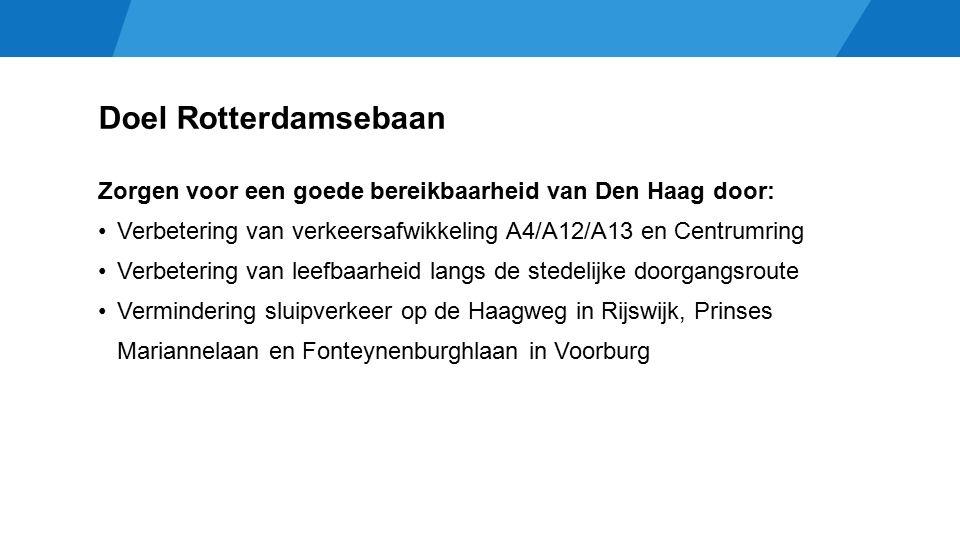Doel Rotterdamsebaan Zorgen voor een goede bereikbaarheid van Den Haag door: Verbetering van verkeersafwikkeling A4/A12/A13 en Centrumring Verbetering van leefbaarheid langs de stedelijke doorgangsroute Vermindering sluipverkeer op de Haagweg in Rijswijk, Prinses Mariannelaan en Fonteynenburghlaan in Voorburg