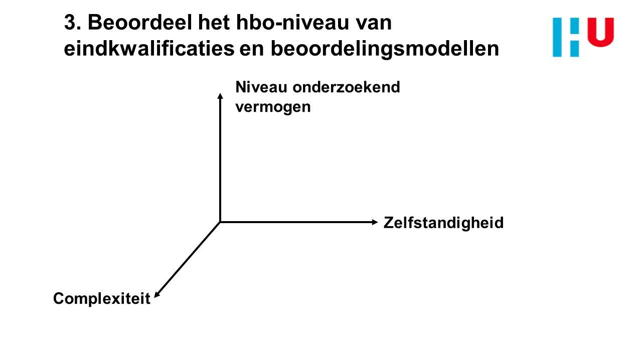3. Beoordeel het hbo-niveau van eindkwalificaties en beoordelingsmodellen Zelfstandigheid Complexiteit Niveau onderzoekend vermogen