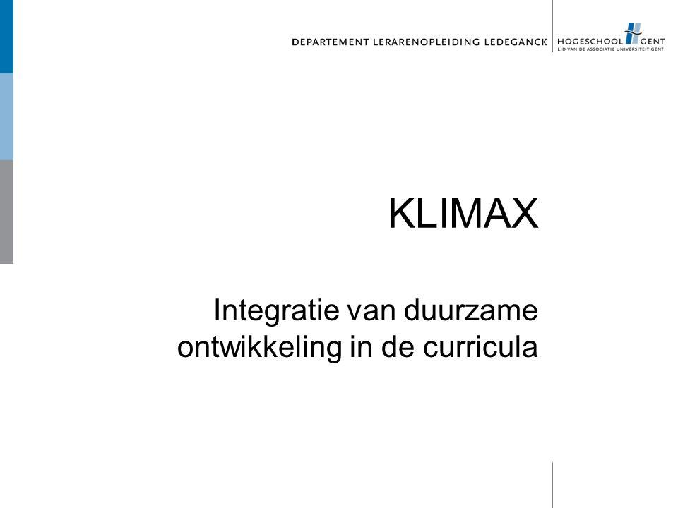 KLIMAX Integratie van duurzame ontwikkeling in de curricula
