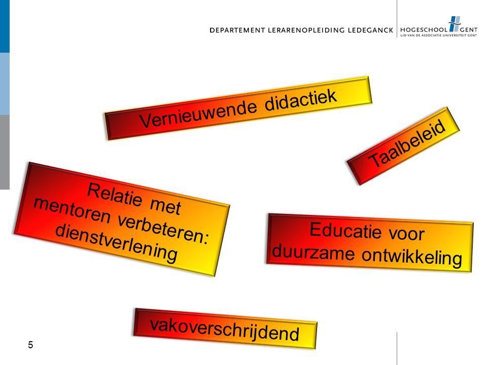 5 Vernieuwende didactiek Taalbeleid Educatie voor duurzame ontwikkeling Educatie voor duurzame ontwikkeling vakoverschrijdend Relatie met mentoren ver