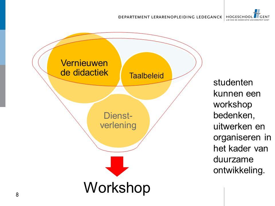 8 Workshop Dienst- verlening Vernieuwen de didactiek Taalbeleid studenten kunnen een workshop bedenken, uitwerken en organiseren in het kader van duur