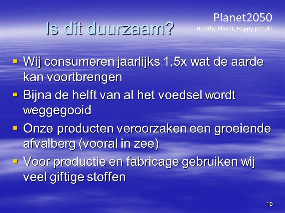 Is dit duurzaam?  Wij consumeren jaarlijks 1,5x wat de aarde kan voortbrengen  Bijna de helft van al het voedsel wordt weggegooid  Onze producten v