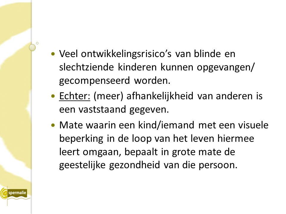 Veel ontwikkelingsrisico's van blinde en slechtziende kinderen kunnen opgevangen/ gecompenseerd worden.